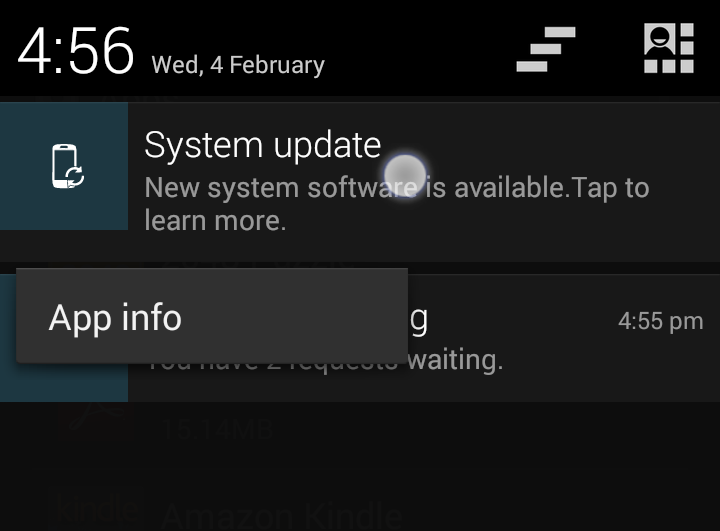 Long press on the notification icon
