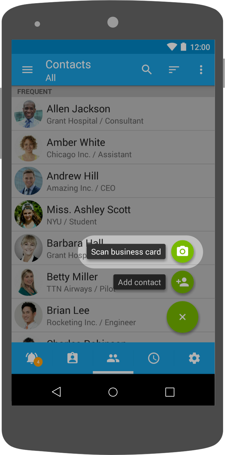 Click on 'Scan business card'