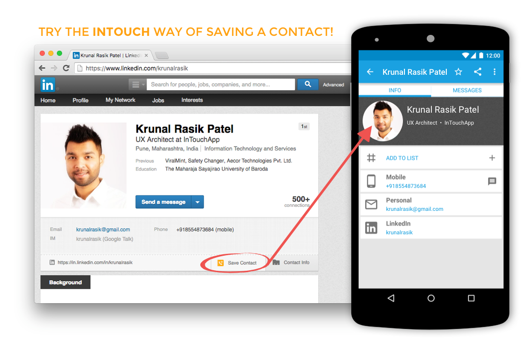 Save contacts from LinkedIn to phone. Save contacts from browser to phone. Save contacts from Chrome to phone.